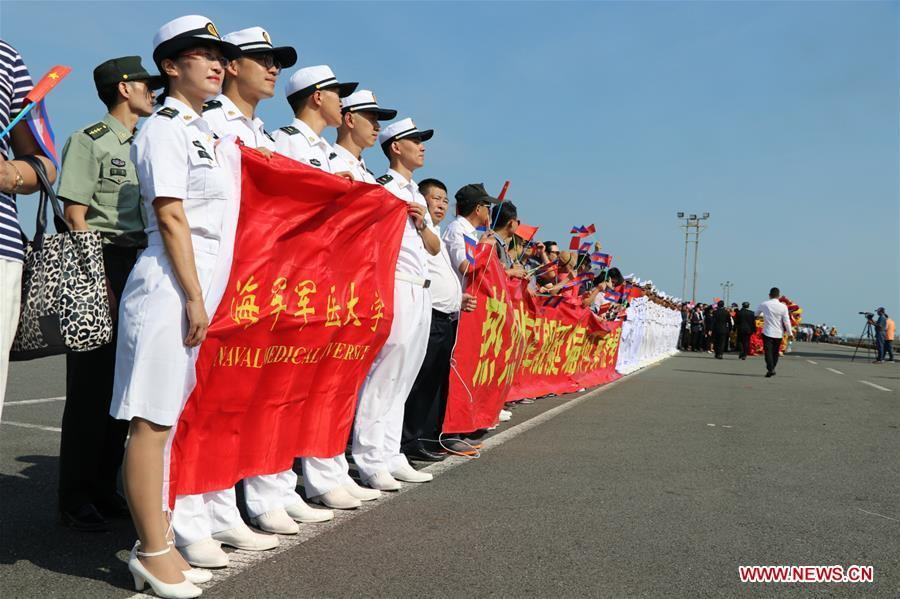 People welcome the 30th fleet of Chinese navy escort at Sihanoukville Autonomous Port, Cambodia, Jan. 9, 2019. The 30th Chinese naval escorting fleet, composed of missile frigates \