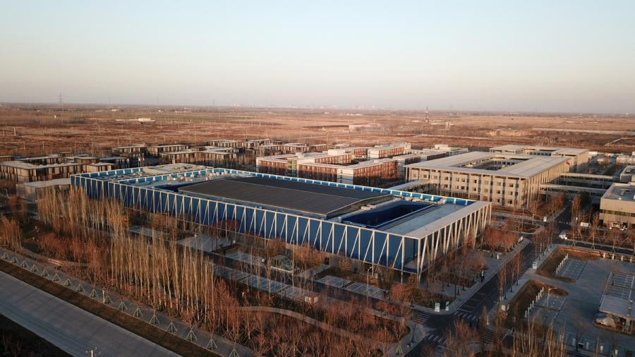An aerial photo taken on Dec 7, 2018 shows the Xiongan public services center in Xiongan New Area, North China\'s Hebei Province. (Photo/Xinhua)