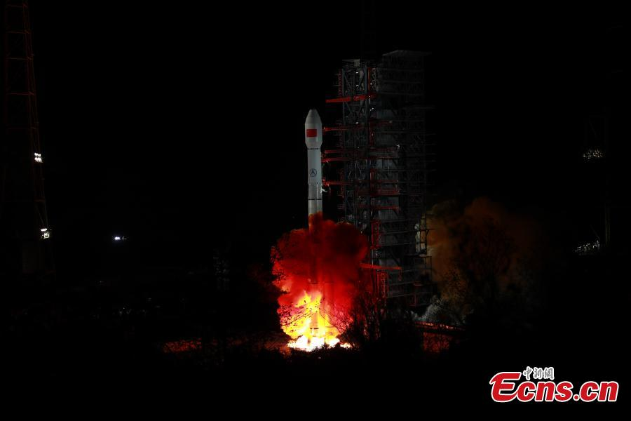 China sends Zhongxing-2D satellite into space on a Long March-3B carrier rocket from the Xichang Satellite Launch Center in Sichuan Province at 1:11 a.m., Jan. 11, 2019. The satellite has entered the preset orbit. (Photo: China News Service/Liang Keyan)