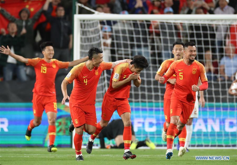 Wu Lei (C) of China celebrates scoring during the 2019 AFC Asian Cup UAE 2019 group C match between China and the Philippines in Abu Dhabi, the United Arab Emirates (UAE), Jan. 11, 2019. China won 3-0. (Xinhua/Cao Can)