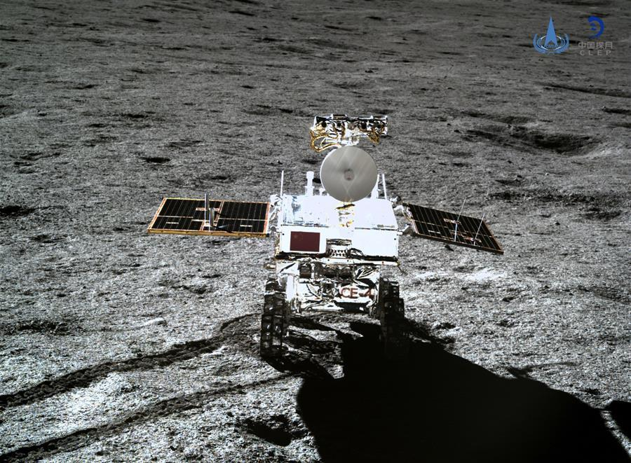 Photo taken by the lander of the Chang\'e-4 probe on Jan. 11, 2019 shows the rover Yutu-2 (Jade Rabbit-2). China announced Friday that the Chang\'e-4 mission, which realized the first-ever soft-landing on the far side of the moon, was a complete success. With the assistance of the relay satellite Queqiao (Magpie Bridge), the rover Yutu-2 (Jade Rabbit-2) and the lander of the Chang\'e-4 probe took photos of each other. (Xinhua/China National Space Administration)