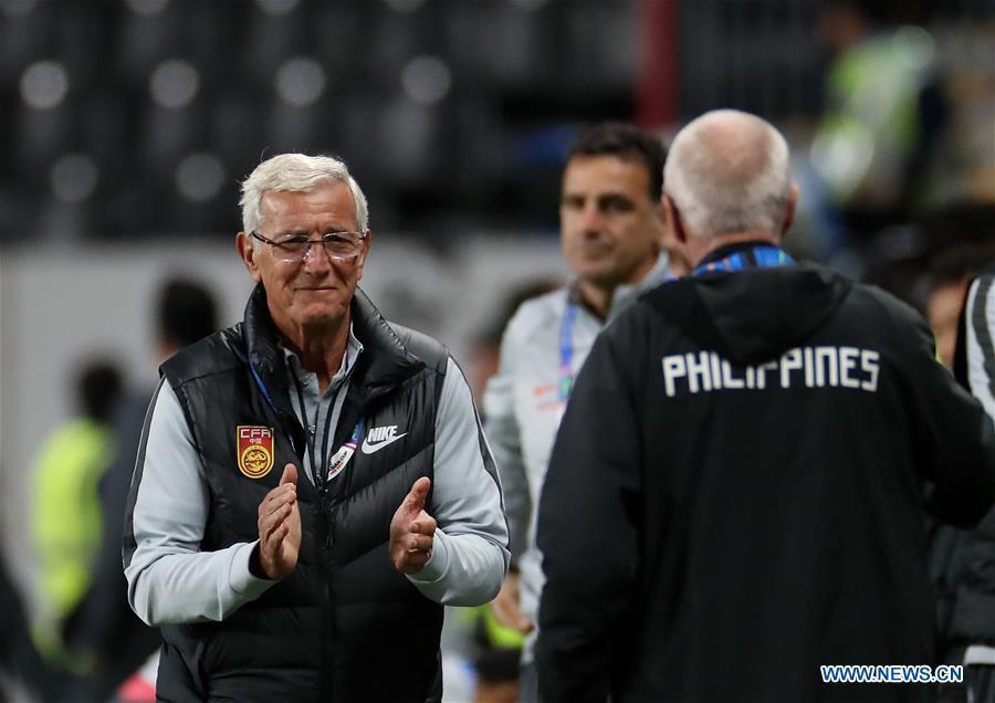 Head Coach Marcello Lippi of China reacts after winning the 2019 AFC Asian Cup UAE 2019 group C match between China and the Philippines in Abu Dhabi, the United Arab Emirates (UAE), Jan. 11, 2019. China won 3-0. (Xinhua/Cao Can)