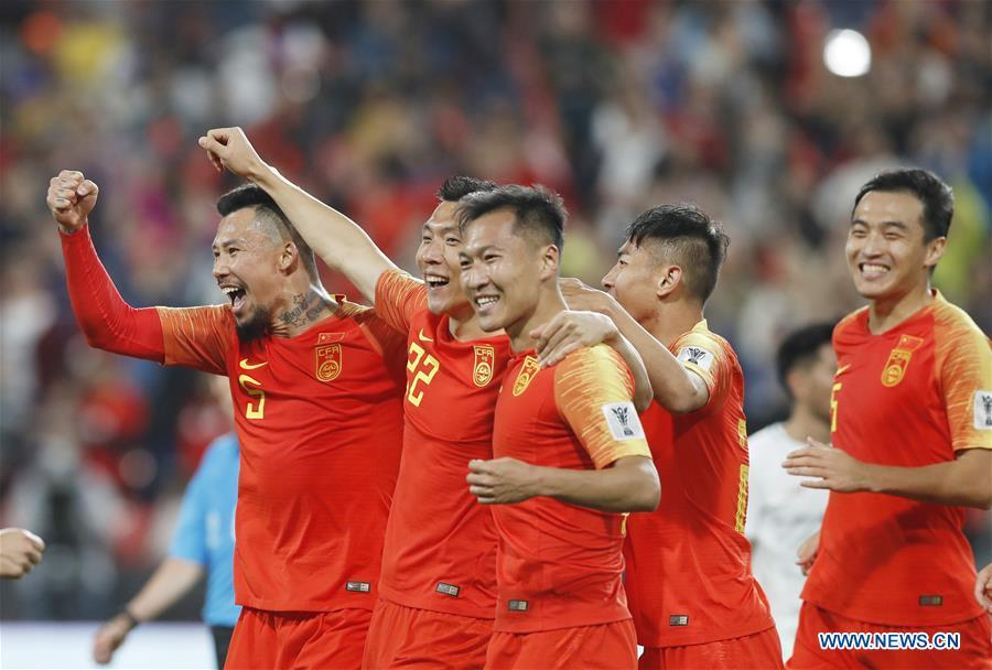Yu Dabao (2nd L) of China celebrates scoring during the 2019 AFC Asian Cup UAE 2019 group C match between China and the Philippines in Abu Dhabi, the United Arab Emirates (UAE), Jan. 11, 2019. China won 3-0. (Xinhua/Ding Xu)