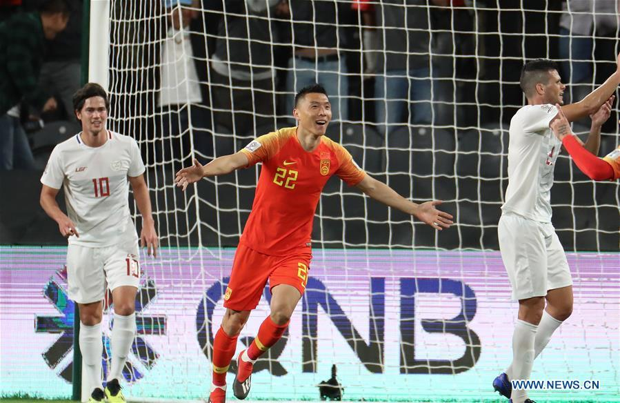 Yu Dabao (C) of China celebrates scoring during the 2019 AFC Asian Cup UAE 2019 group C match between China and the Philippines in Abu Dhabi, the United Arab Emirates (UAE), Jan. 11, 2019. China won 3-0. (Xinhua/Cao Can)
