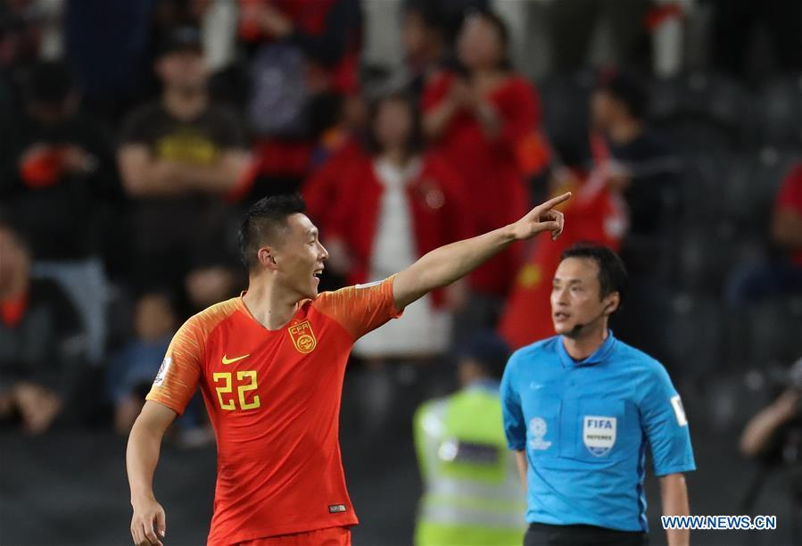 Yu Dabao (L) of China celebrates scoring during the 2019 AFC Asian Cup UAE 2019 group C match between China and the Philippines in Abu Dhabi, the United Arab Emirates (UAE), Jan. 11, 2019. China won 3-0. (Xinhua/Cao Can)