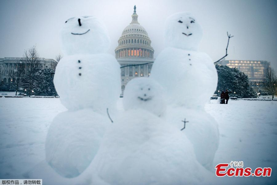 The Capitol Hill is seen in snow in Washington D.C., the United States, on Jan. 13, 2019. (Photo/Agencies)