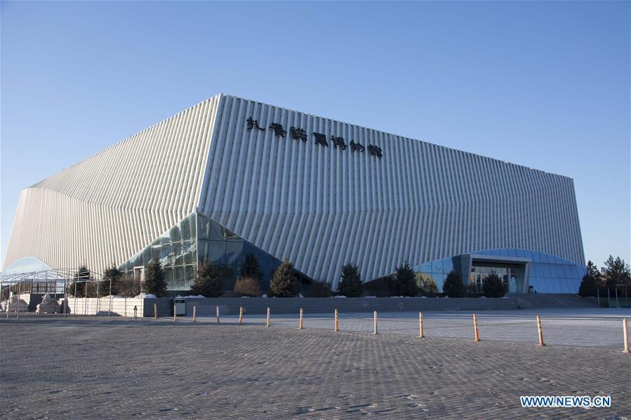 Photo taken on Jan. 8, 2019 shows a view of Jalainur Museum in Manzhouli, north China\'s Inner Mongolia Autonomous Region. A carbon-14 dating study on four skull samples discovered at Jalainur District, Manzhouli City in northern China\'s Inner Mongolia Autonomous Region confirmed the earliest sample was around 10,113 years old, researchers announced Saturday in Beijing. Jalainur, a county-level district under the jurisdiction of Manzhouli City, is located near Russia and Mongolia. Starting in March 2018, the study was jointly conducted by researchers from Peking University (PKU) and the school of archaeology at Jilin University. (Xinhua/Darhan)