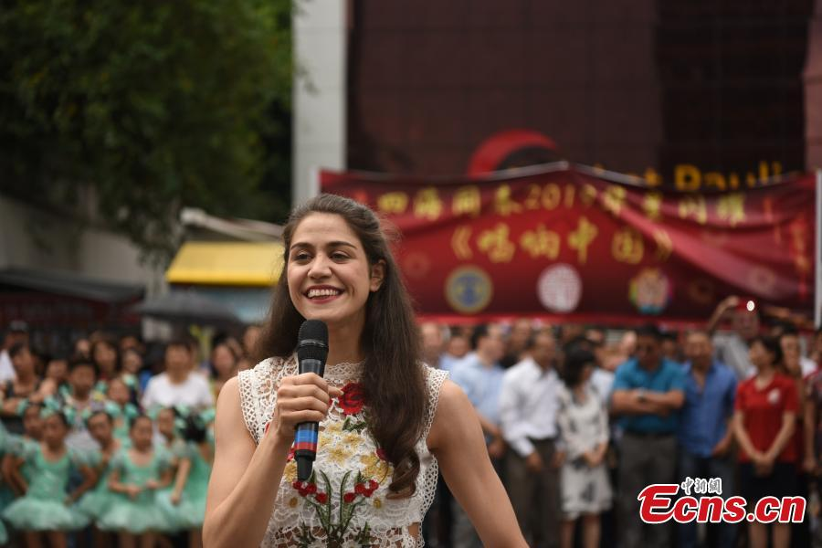 A performance to celebrate the upcoming Spring Festival, China\'s Lunar New Year, on Paulista Avenue, one of the most important avenues in Sao Paulo, Brazil, Jan. 13, 2019. Thousands of people watched the show organized by several local Chinese organizations. (Photo: China News Service/Mo Chengxiong)