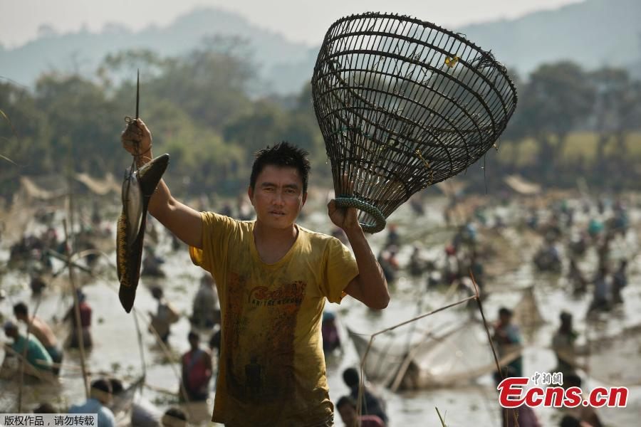 An Indian villager shows his catch as he participates in community fishing as part of Bhogali Bihu celebrations in Panbari village, some 50 kilometers east of Gauhati, India, Jan. 14, 2019. \