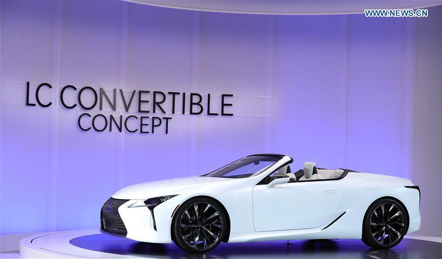 Photo taken on Jan. 15, 2019 shows a Lexus LC Convertible Concept vehicle at the 2019 North American International Auto Show (NAIAS) in Detroit, the United States. The annual Detroit auto show opened Monday and will last till Jan. 27. (Xinhua/Wang Ping)