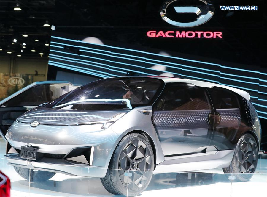 Photo taken on Jan. 15, 2019 shows a GAC Motor\'s concept vehicle Entranze at the 2019 North American International Auto Show (NAIAS) in Detroit, the United States. The annual Detroit auto show opened Monday and will last till Jan. 27. (Xinhua/Wang Ping)