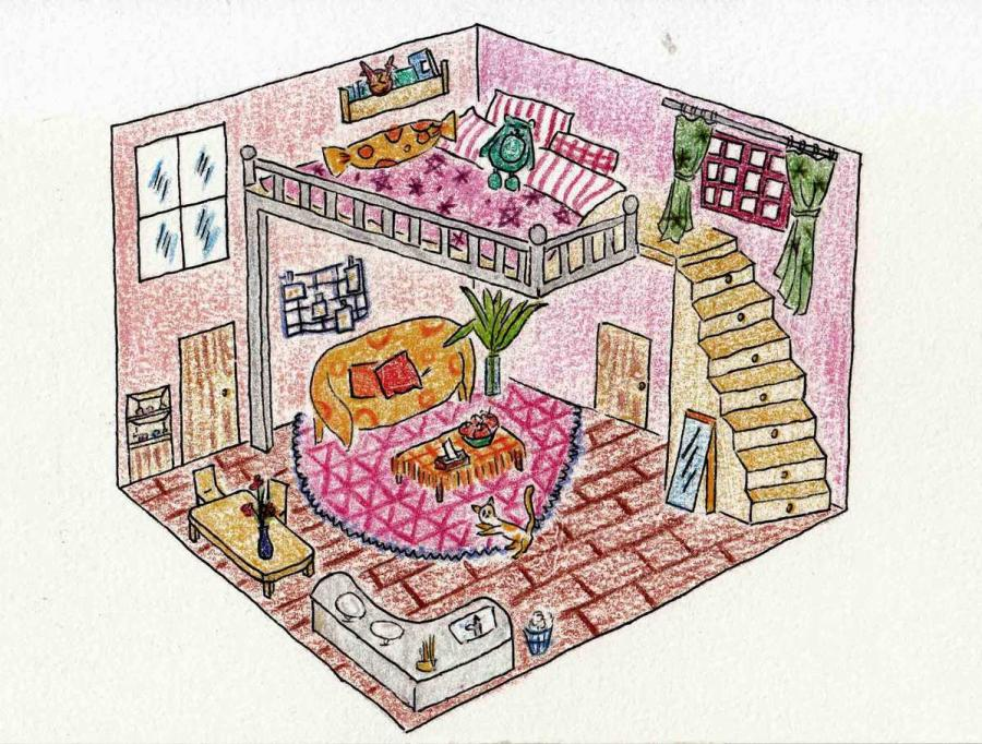 An example of the living alone drawings done by 10th grade students from Changzhou No 2 Middle School.