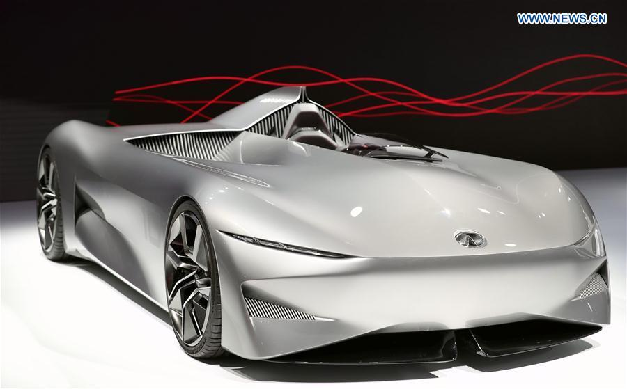 Photo taken on Jan. 15, 2019 shows an Infiniti concept vehicle Prototype 10 at the 2019 North American International Auto Show (NAIAS) in Detroit, the United States. The annual Detroit auto show opened Monday and will last till Jan. 27. (Xinhua/Wang Ping)