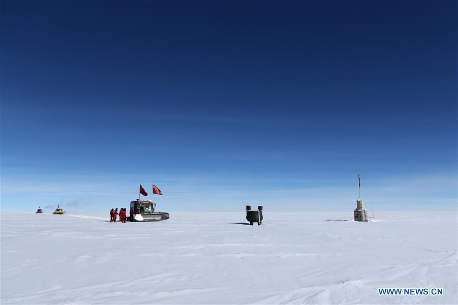 Members of China\'s 35th Antarctic expedition team arrive at the area of the Dome Argus (Dome A), the peak of Antarctica\'s inland icecap, in Antarctica, Jan. 16, 2019. (Xinhua/Liu Shiping)