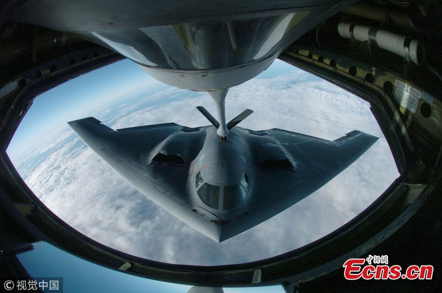 <?php echo strip_tags(addslashes(A B-2 Spirit mid-air refueling. (Photo/VCG))) ?>