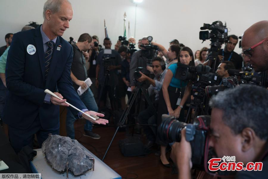 National Museum Director Alexander Kellner shows a bone fragment fossil from the flying reptile Pterosaur, his left hand, found in the Antarctica, during a media presentation in Rio de Janeiro, Brazil, Jan. 16, 2019. The National Museum will inaugurate on Jan. 17 their first exhibition after the fire, held at the building that houses the Cultural Center and Museum of Brazil's Mint. (Photo/Agencies)