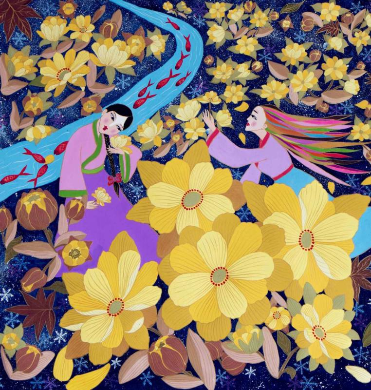 A painting by Yu Xian, a native of Huadian, Northeast China\'s Jilin Province, depicts rural scenery in the area. (Photo by Kang Meihua/for chinadaily.com.cn)