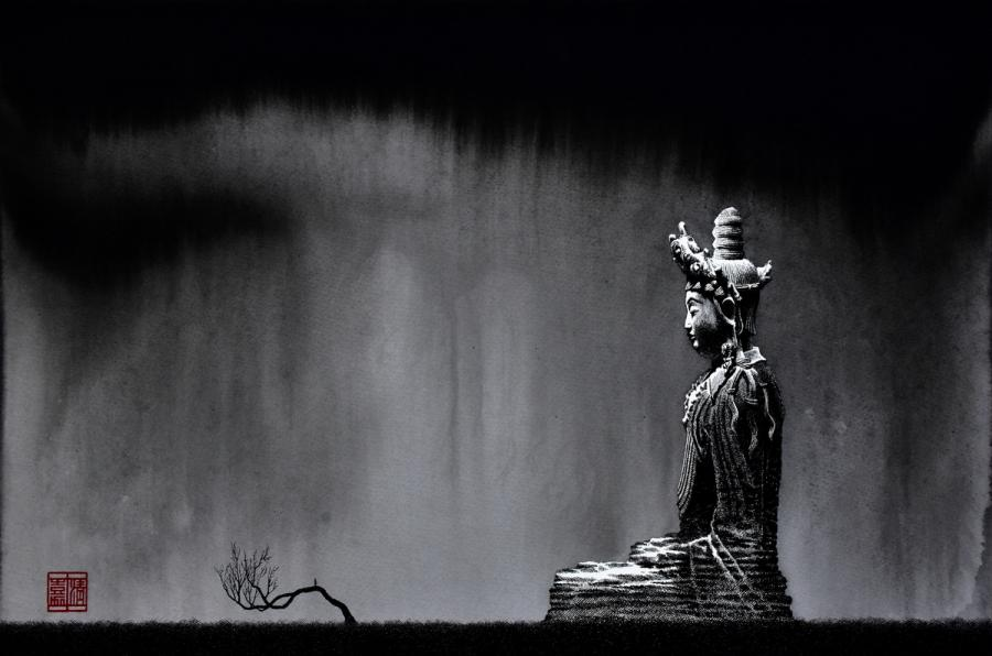 A 2017 pen-and-ink painting by Liu Kai shows a traditional Buddhist sculpture.  (Photo provided to chinadaily.com.cn)