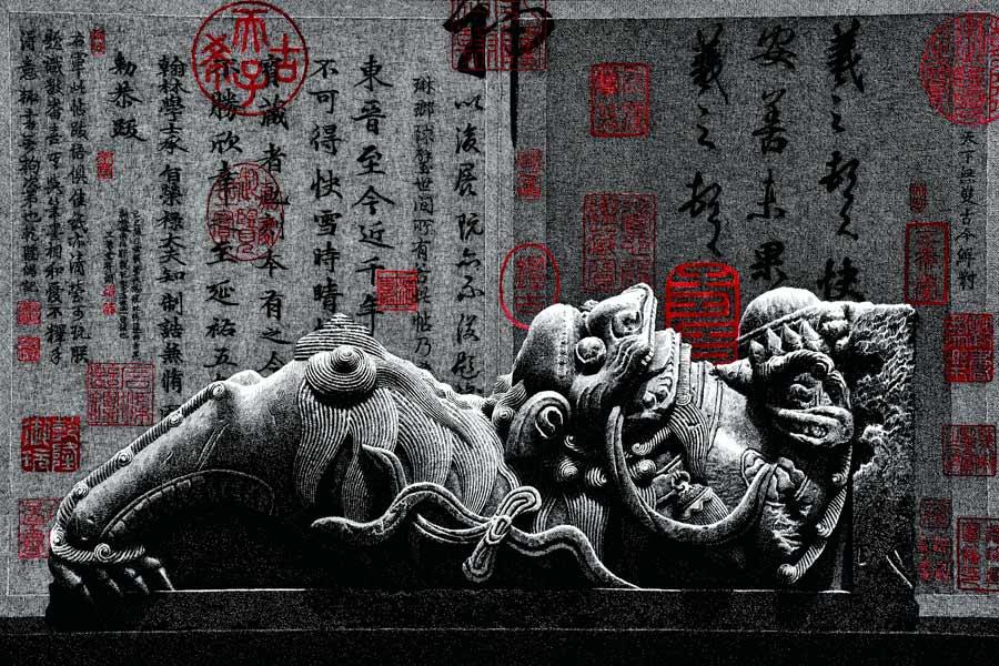 A 2017 pen-and-ink painting by Liu Kai shows a traditional Chinese sculpture. (Photo provided to chinadaily.com.cn)