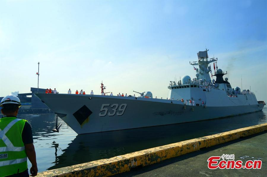 Chinese sailors aboard the guided-missile frigate Wuhu (539) stand in formation as it docks in Manila, January 17, 2019. A Chinese naval task group consisting of two frigates - the Wuhu 539 and Handan 579 - and a replenishment ship Dongpinghu (960) arrived for a four-day goodwill visit. The last visit to the Philippines by the Chinese navy was in April 2017.  (Photo/China News Service)