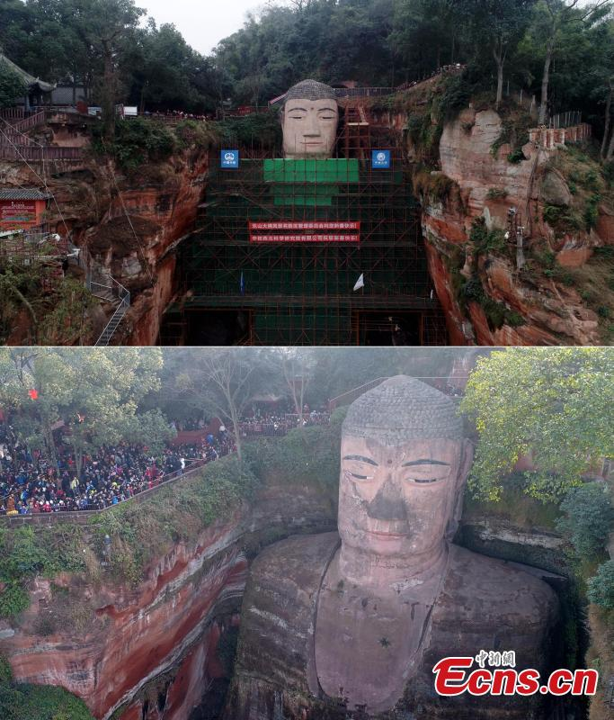 Photos taken on Jan. 17, 2019 (U) and Feb. 20, 2018 show the before and after of restoration work on the Leshan Giant Buddha statue. The 71-meter-tall statue, carved in the 8th century on a hillside overlooking the confluence of three rivers, is the largest Buddhist sculpture in the world. (Photo: China News Service/Liu Zhongjun)