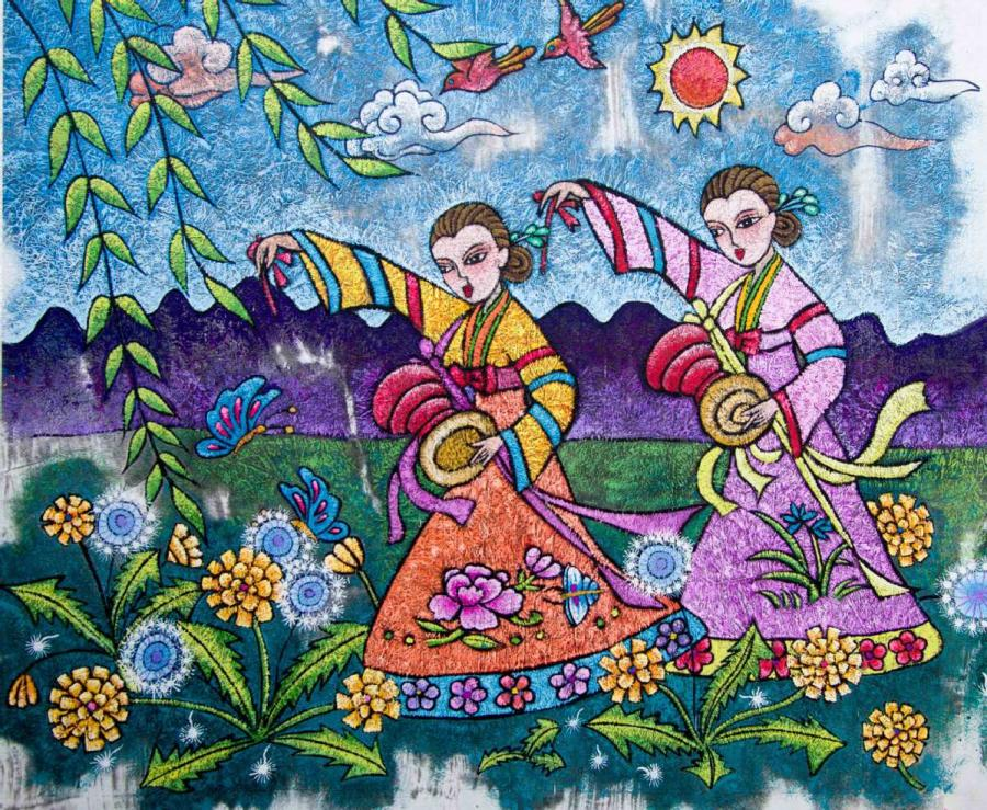 A painting by Yu Xian, a native of Huadian, Northeast China\'s Jilin Province, depicts members of the Korean ethnic group in the area. (Photo by Kang Meihua/for chinadaily.com.cn) Huadian, in northeast China\'s Jilin Province, enjoys a nationwide reputation for its peasant artwork tradition, which is defined by its use of vibrant color and agricultural themes.   Thanks to this tradition, the city has seen an unexpected surge in popularity in recent years among art collectors and tourists alike.   The paintings not only bring color to the lives of those who purchase them, but also provide an essential source of income to their creators, many of whom have disabilities, greatly improving their quality of life.   The painters\' creativity brings them financial independence, along with confidence, according to Ji Honghua, deputy director of the local federation for people with disabilities.   The federation started to offer free courses on peasant painting in 2014. More than 100 people with disabilities have since availed of the courses, with some winning national awards for their paintings.