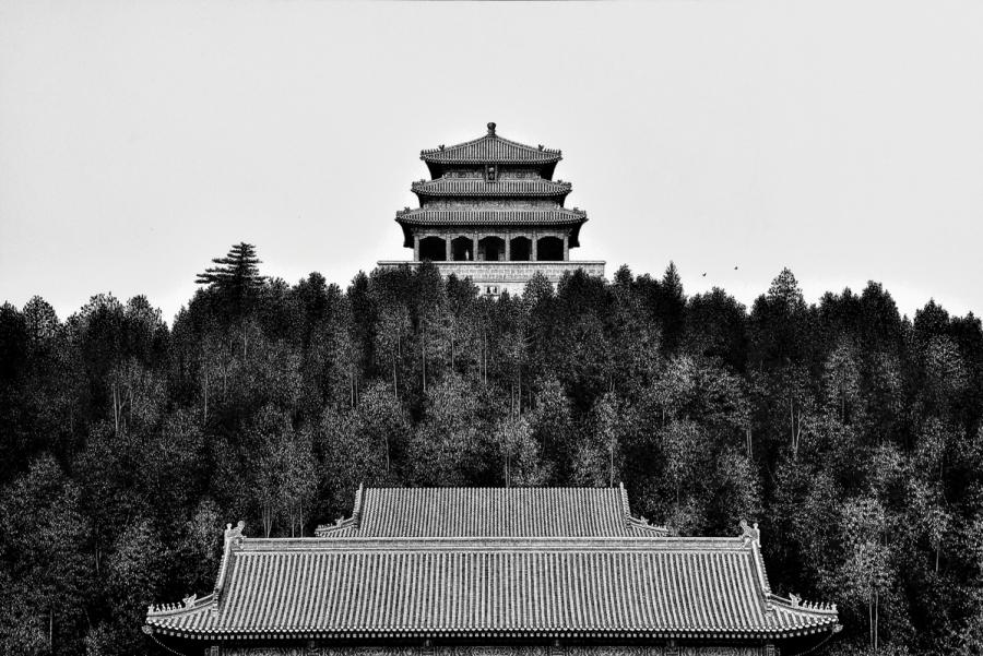 A 2017 pen-and-ink painting by Liu Kai shows traditional Chinese architecture on a hill.  (Photo provided to chinadaily.com.cn)