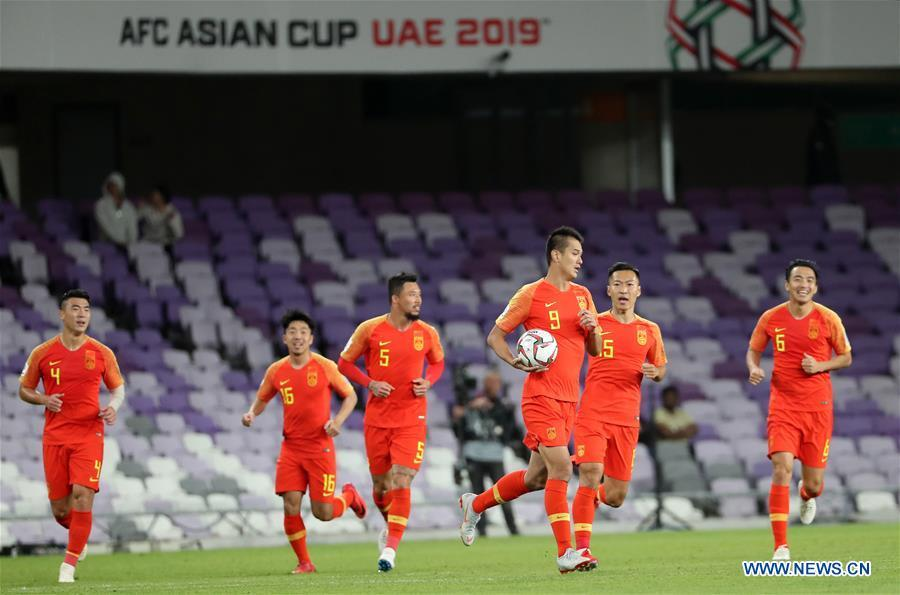 China\'s Xiao Zhi (3rd R) celebrates his goal during the 2019 AFC Asian Cup round of 16 match between China and Thailand in Al Ain, the United Arab Emirates, Jan. 20, 2019. (Xinhua/Li Gang)