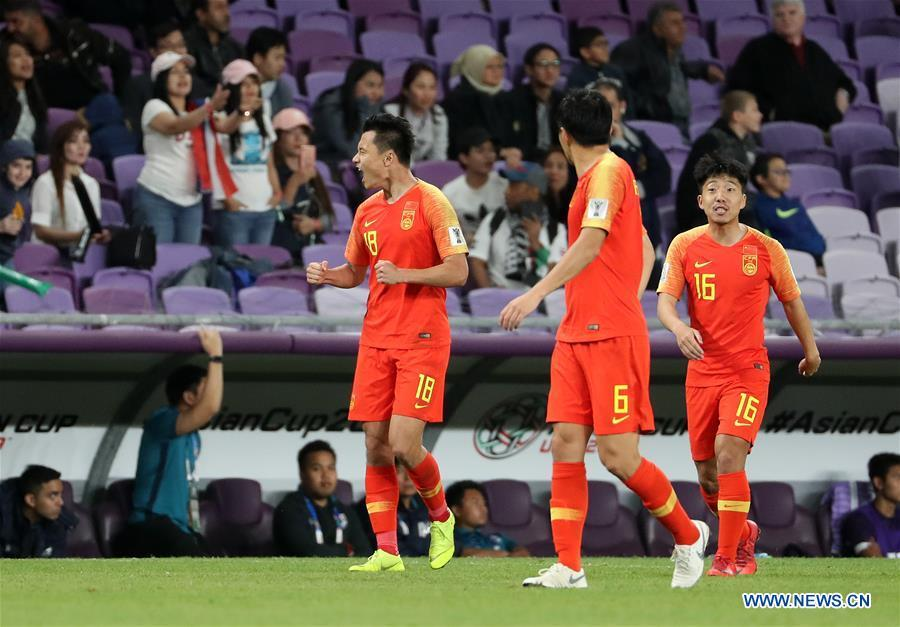 China\'s Gao Lin (L) celebrates his goal during the 2019 AFC Asian Cup round of 16 match between China and Thailand in Al Ain, the United Arab Emirates, Jan. 20, 2019. (Xinhua/Li Gang)