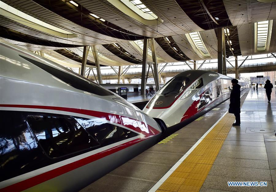 A Fuxing bullet train arrives at Beijing South Railway Station in Beijing, capital of China, Jan. 20, 2019. The 2019 Spring Festival travel rush, known as Chunyun, starts on Jan. 21. The Spring Festival, or Chinese Lunar New Year, falls on Feb. 5 this year. (Xinhua/Yang Baosen)