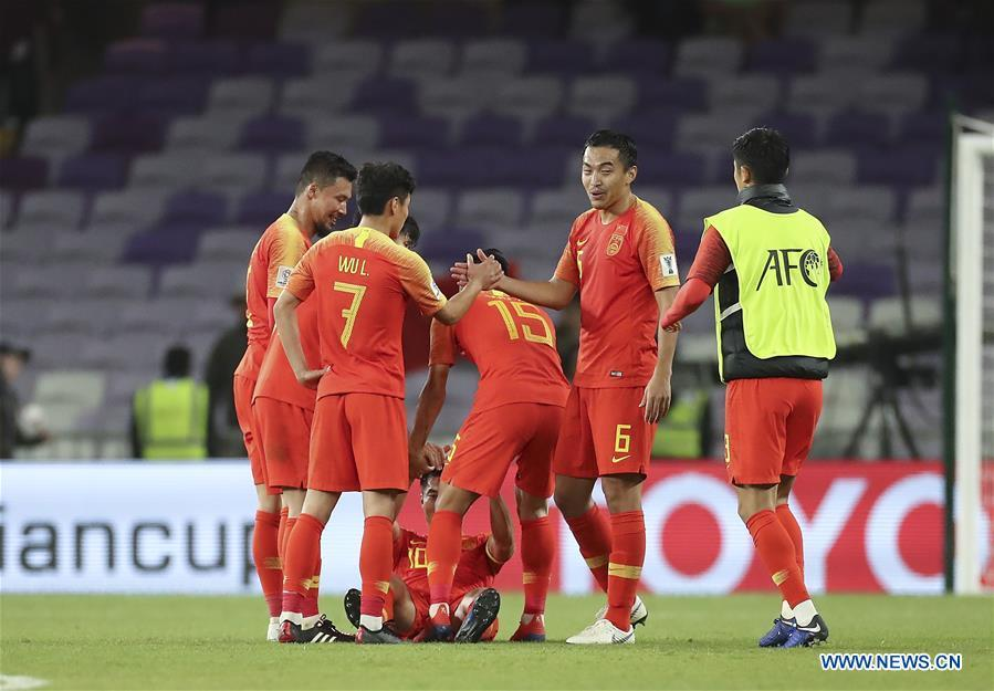 China\'s players celebrate after the 2019 AFC Asian Cup round of 16 match between China and Thailand in Al Ain, the United Arab Emirates, Jan. 20, 2019. (Xinhua/Cao Can)