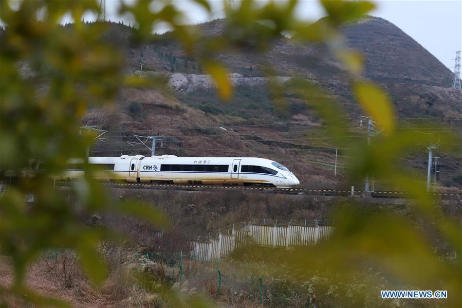 A bullet train runs in Kaili City, southwest China\'s Guizhou Province, Jan. 20, 2019. The 2019 Spring Festival travel rush, known as Chunyun, starts on Jan. 21. The Spring Festival, or Chinese Lunar New Year, falls on Feb. 5 this year. (Xinhua/Wu Jibin)