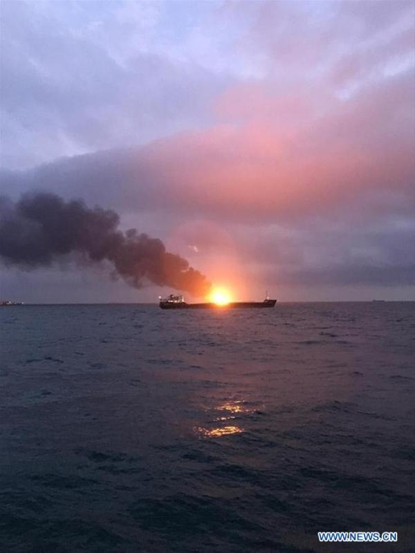 Photo taken on Jan. 21, 2019 shows a burning ship in the Kerch Strait. Two ships caught fire after a possible explosion while moving through the Kerch Strait, killing one sailor on board, Russia\'s Federal Agency of Maritime and River Transport (Rosmorrechflot) said Monday. (Xinhua/Sputnik)