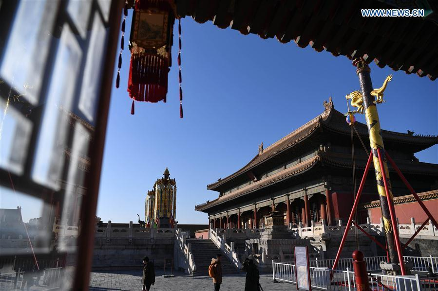 Heavenly lanterns and longevity lanterns are installed before the Qianqing Gong, or the Palace of Heavenly Purity, at the Palace Museum, also known as the Forbidden City, in Beijing, capital of China, Jan. 21, 2019. The traditional lanterns recovered by the Palace Museum in accordance with historical archives from the Qing Dynasty (1644-1911) are opened to the public Monday, as a part of the exhibition of \