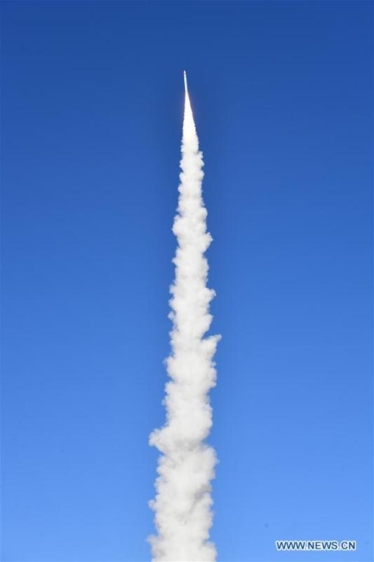 A Long March-11 rocket carrying two satellites for multispectral imaging and two test satellites blasts off from the Jiuquan Satellite Launch Center in northwest China, Jan. 21, 2019. China launched two satellites for multispectral imaging on a Long March-11 rocket from the Jiuquan Satellite Launch Center in northwest China at 1:42 pm on Monday. The satellites have successfully entered their preset orbit, according to the center. (Photo: China News Service/Lang Wenhai)