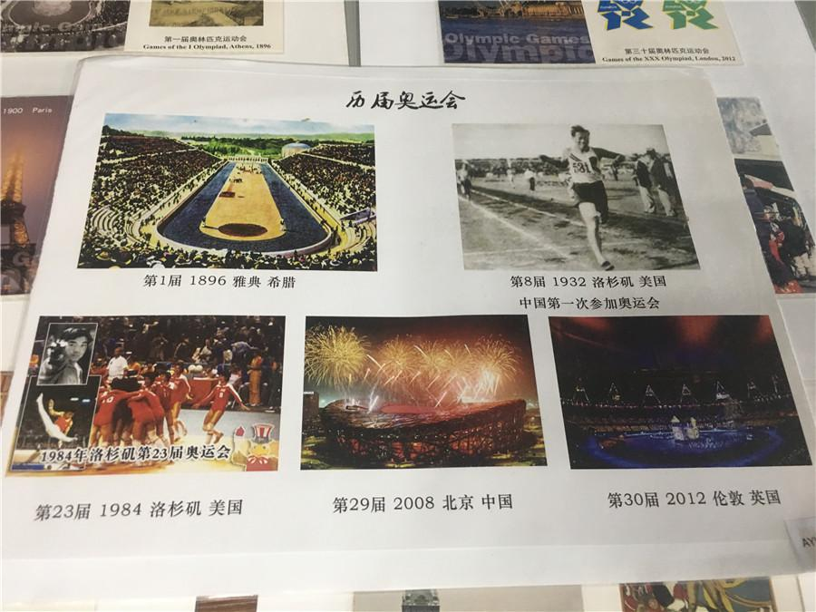 Part of Kong Xiangming\'s postcard collection, featuring different Olympic Games. (Photo/chinadaily.com.cn)