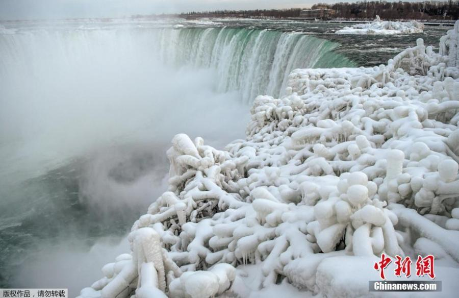 Ice and snow cover branches near the brink of the Horseshoe Falls, due to subzero temperatures in Niagara Falls, Ontario, Canada, Jan. 22, 2019. (Photo/Agencies)