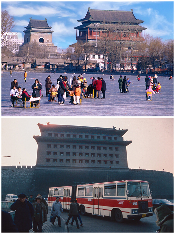Winter near Zhonggulou 1998. Deshengmen Gate 1995 (Photo/chinadaily.com.cn)