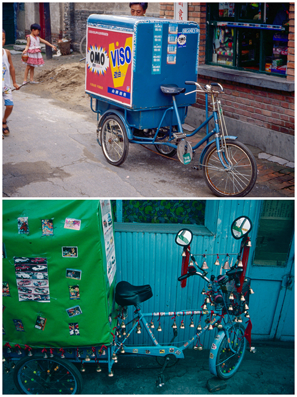 Delivery carts in hutongs 1997 (Photo/chinadaily.com.cn)
