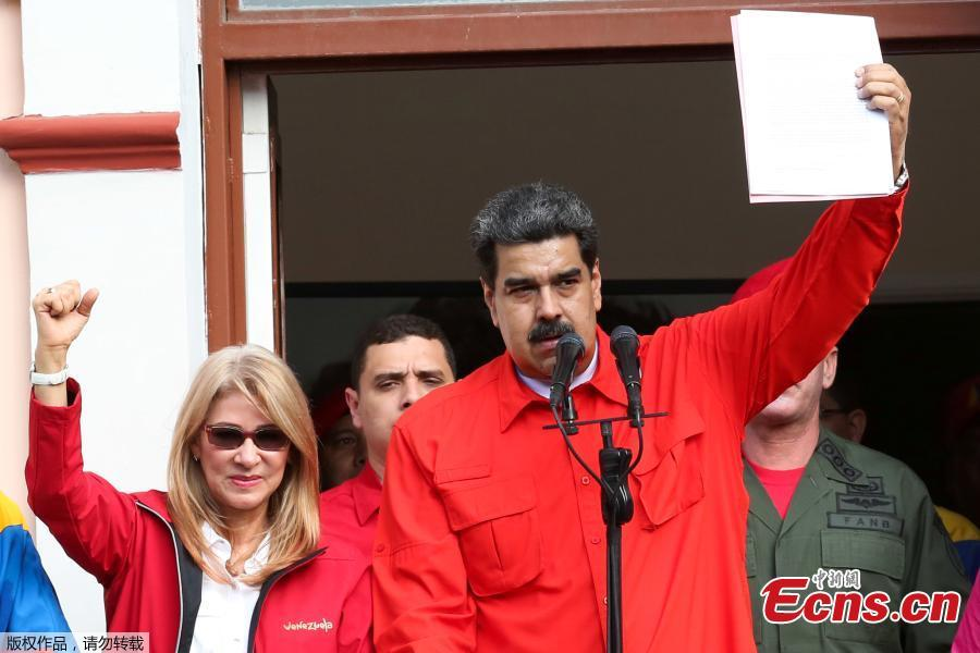 Venezuela\'s President Nicolas Maduro attends a rally in support of his government and to commemorate the 61st anniversary of the end of the dictatorship of Marcos Perez Jimenez in Caracas, Venezuela January 23, 2019. [Photo/Agencies]
