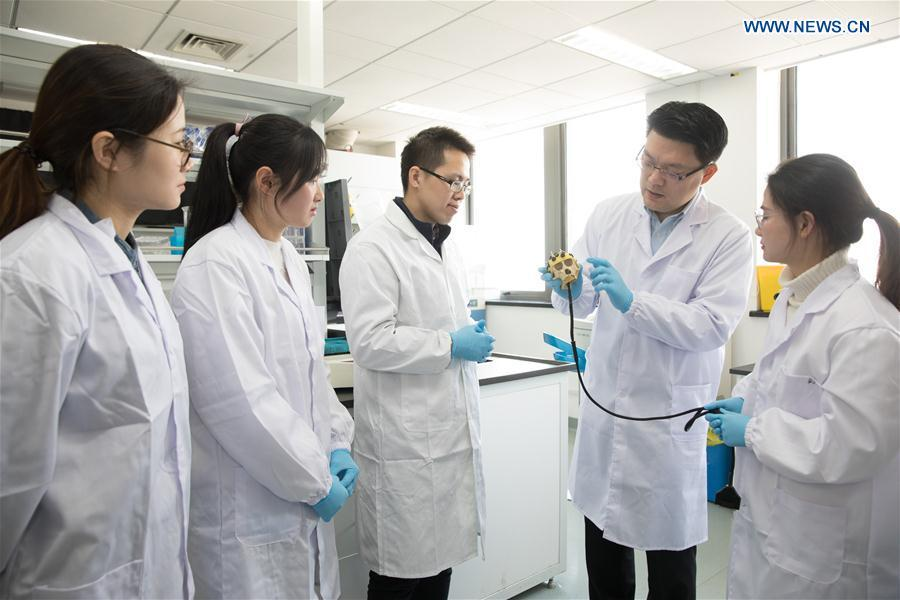 Researcher Zhang Hongjun (2nd R) discusses the experimental design with his team members at a laboratory of the Institute of Neuroscience of Chinese Academy of Sciences in Shanghai, east China, Jan. 22, 2019. China has cloned five monkeys from a gene-edited macaque with circadian rhythm disorders, the first time multiple monkeys have been cloned from a gene-edited monkey for biomedical research. Scientists made the announcement Thursday, with two articles published in National Science Review, a top Chinese journal in English. The cloned monkeys were born in Shanghai at Institute of Neuroscience of Chinese Academy of Sciences. (Xinhua/Jin Liwang)