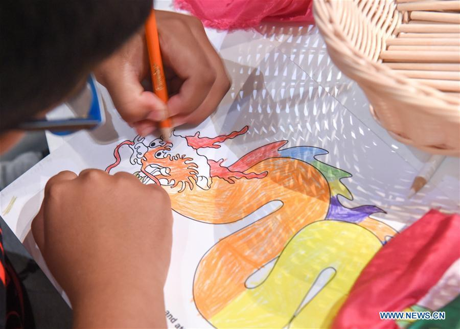 A 7-year-old boy Liam colors a Chinese dragon in Te Papa, the national museum of New Zealand in Wellington, New Zealand, Jan. 23, 2019. A family event, with a theme on \