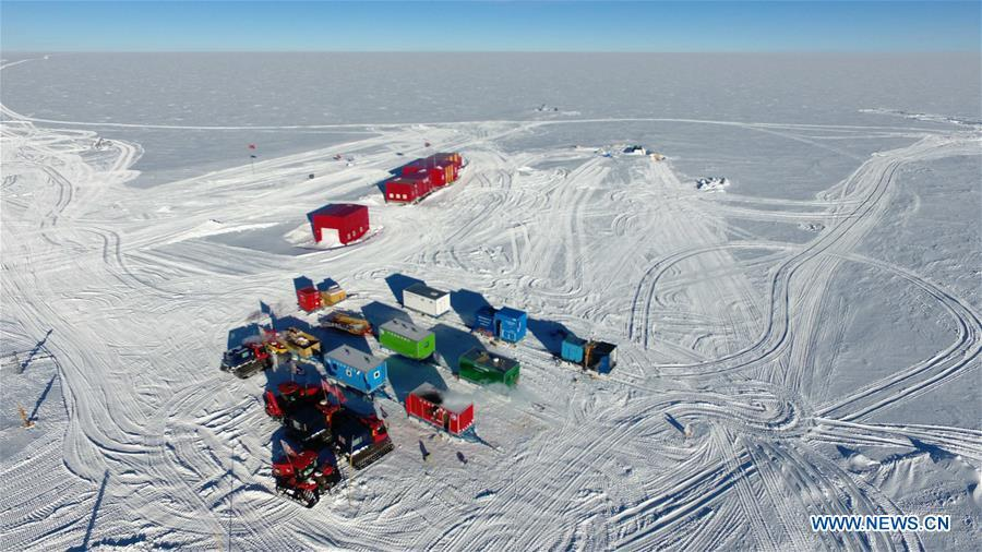 Aerial photo taken on Jan. 23, 2019 shows the view of the campsite beside the Kunlun Station in Antarctica. The Kunlun team of China\'s 35th Antarctic expedition withdrew from the Kunlun Station on Thursday after completing various scientific exploration projects at the peak of Antarctic\'s inland icecap. (Xinhua/Liu Shiping)