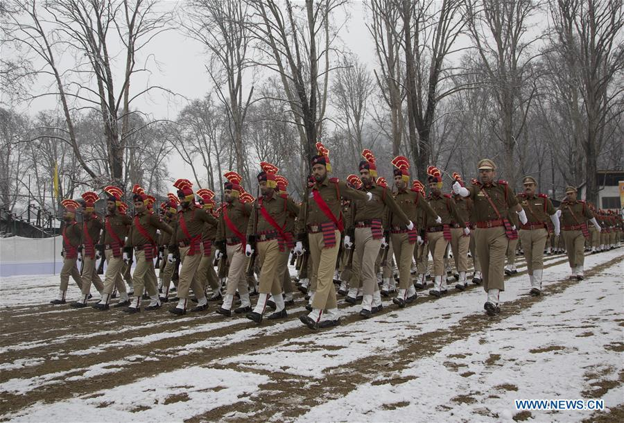 Indian policemen march during a full dress rehearsal for the upcoming India Republic Day parade in Srinagar, the summer capital of India-controlled Kashmir, Jan. 24, 2019. India will celebrate its Republic Day on Jan. 26, 2019. (Xinhua/Javed Dar)