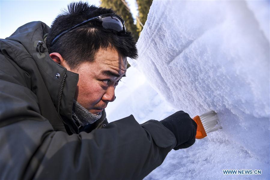 Researcher Hao Jiansheng clears the surface of snow cover in Hejing County, northwest China\'s Xinjiang Uygur Autonomous Region, Jan. 20, 2019. A nine-member research team with an average age under 30 from the Xinjiang Institute of Ecology and Geography under the Chinese Academy of Sciences started a research on snow cover on the Tianshan Mountains in Xinjiang. Snow cover on the Tianshan Mountains is an important source of water resources. Snowmelt provides an abundant water supply for river flow in this area and also affects the ecological system of agricultural and animal husbandry production in the downstream oasis. (Xinhua/Hu Huhu)