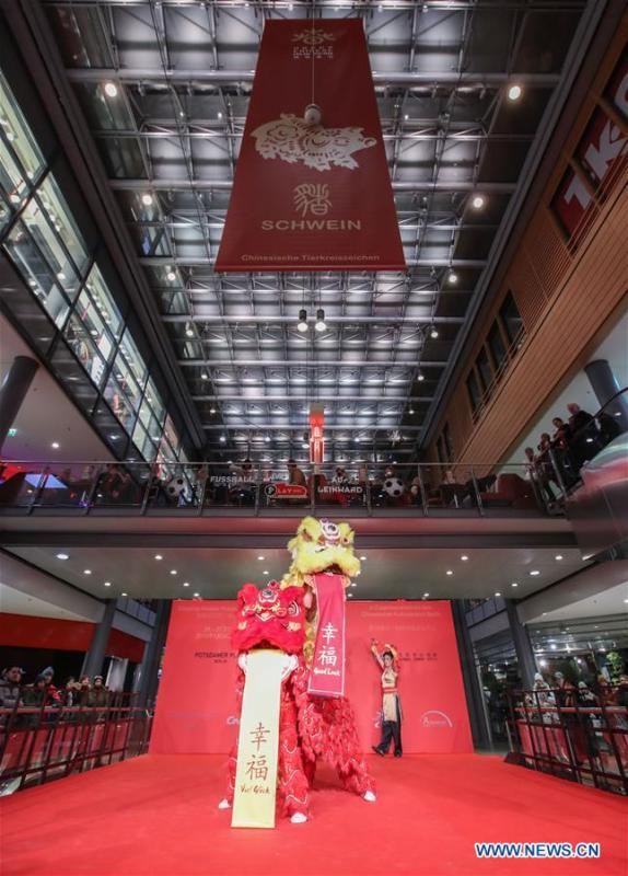 The photo taken on Jan. 24, 2019 shows a lion dance performance during the opening ceremony of \