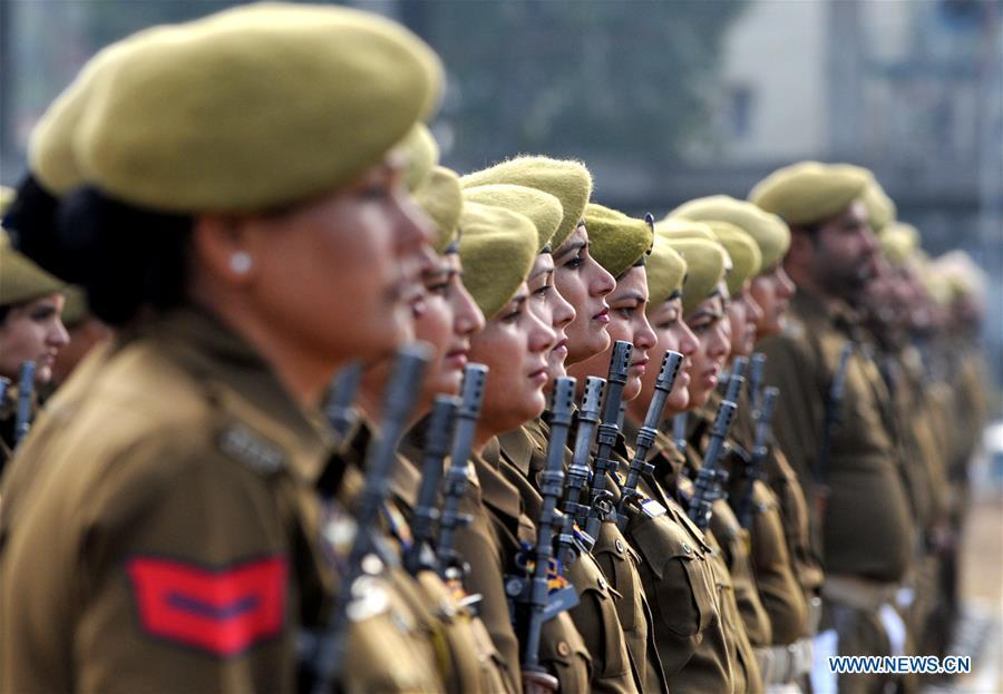 Policewomen participate in a full dress rehearsal for the upcoming Indian Republic Day parade in Jammu, the winter capital of India-controlled Kashmir, Jan. 24, 2019. India will celebrate its Republic Day on Jan. 26, 2019. (Xinhua/Stringer)