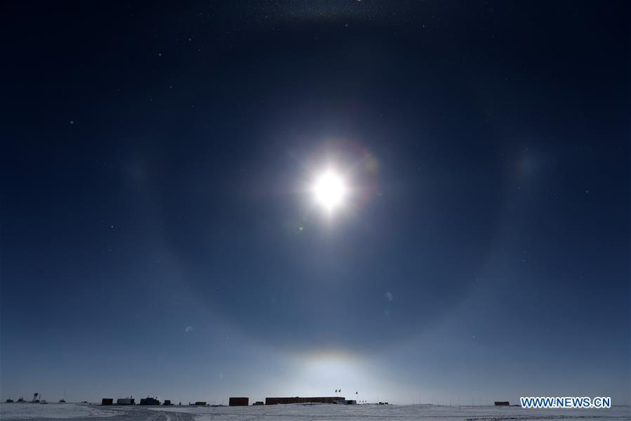 The Kunlun Station is seen in the sunlight in Antarctica, Jan. 22, 2019. The Kunlun team of China\'s 35th Antarctic expedition withdrew from the Kunlun Station on Thursday after completing various scientific exploration projects at the peak of Antarctic\'s inland icecap. (Xinhua/Liu Shiping)