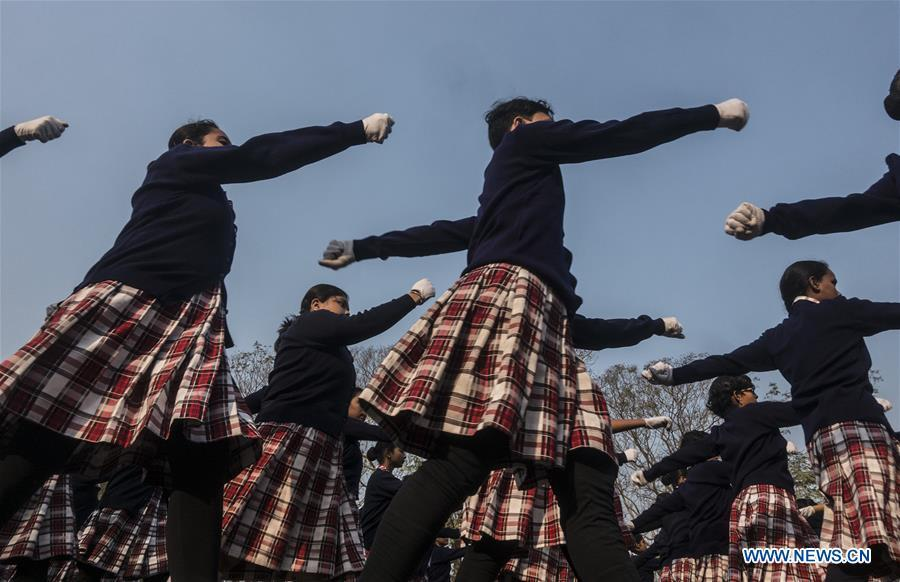 Indian students take part in the final rehearsal of the upcoming India Republic Day parade in Kolkata, India, Jan. 24, 2019. India will celebrate its Republic Day on Jan. 26, 2019. (Xinhua/Tumpa Mondal)