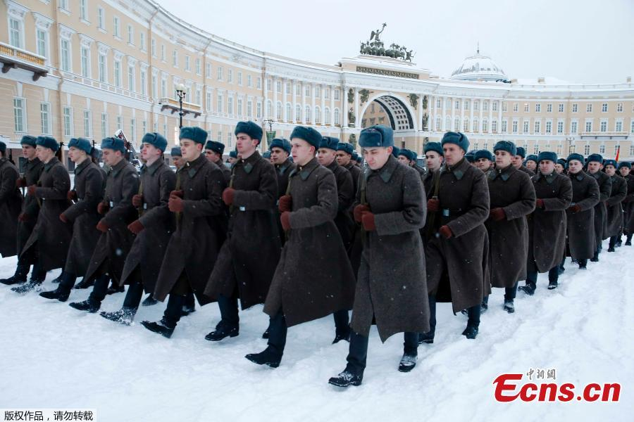A rehearsal for the military parade which will take place at Dvortsovaya (Palace) Square on Jan. 27 to celebrate the 75th anniversary of the end of the Siege of Leningrad, in St. Petersburg, Russia, Jan. 24, 2019. The Nazi German and Finnish siege and blockade of Leningrad, now known as St. Petersburg, was broken on Jan. 18, 1943 but finally lifted Jan. 27, 1944. (Photo/Agencies)